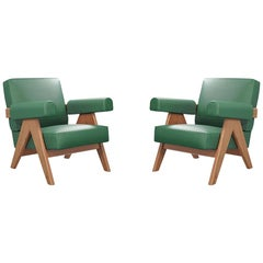 Set of Two Pierre Jeanneret Capitol Complex Armchairs by Cassina
