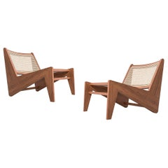 Set of Two Pierre Jeanneret Kangaroo Low Armchair, Wood and Woven Viennese Cane