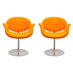 "Set of Two Pierre Paulin Orange ""Tulip"" Swivel Chairs for Artifort, 1980s"