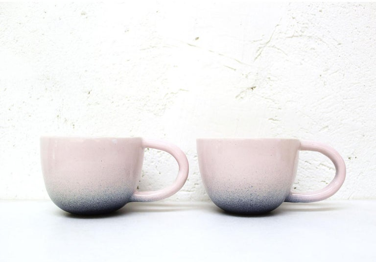 American Set of Two Pink and Indigo Ceramic Mugs by Carol Joo Lee For Sale
