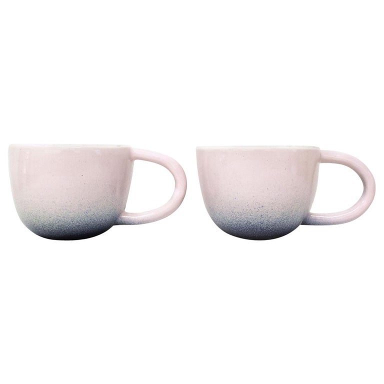 Set of Two Pink and Indigo Ceramic Mugs by Carol Joo Lee For Sale
