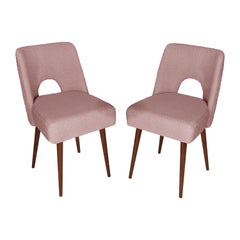 Set of Two Pink Boucle 'Shell' Chairs, 1960s