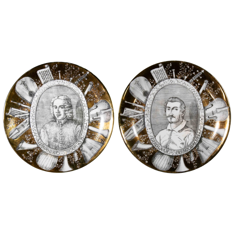 "Set of Two Plates ""Grandi Maestri"" by P. Fornasetti, 1967"