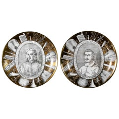 "Set of Two Plates ""Grandi Maestri"" by P. Fornasetti, 1967"