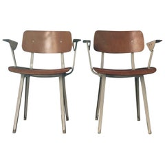 Set of Two Plywood Revolt Chairs with White Arms, by Friso Kramer, Netherlands