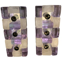 Set of Two Poliarte Mid-Century Modern Murano Glass Wall Sconces, circa 1960