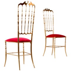 Set of Two Polished Brass Chiavari Chairs with Red Velvet, Italy