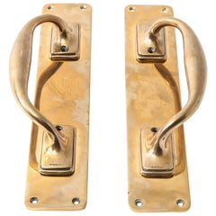Set of Two Polished Bronze Vintage English Door Pulls
