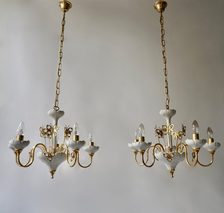 Set of Two Porcelain and Brass Butterfly Chandeliers For Sale 4