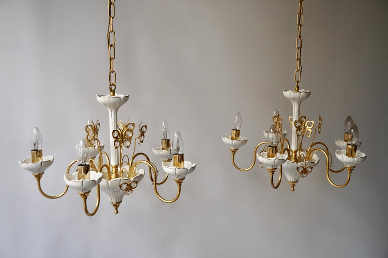 Set of Two Porcelain and Brass Butterfly Chandeliers For Sale 5