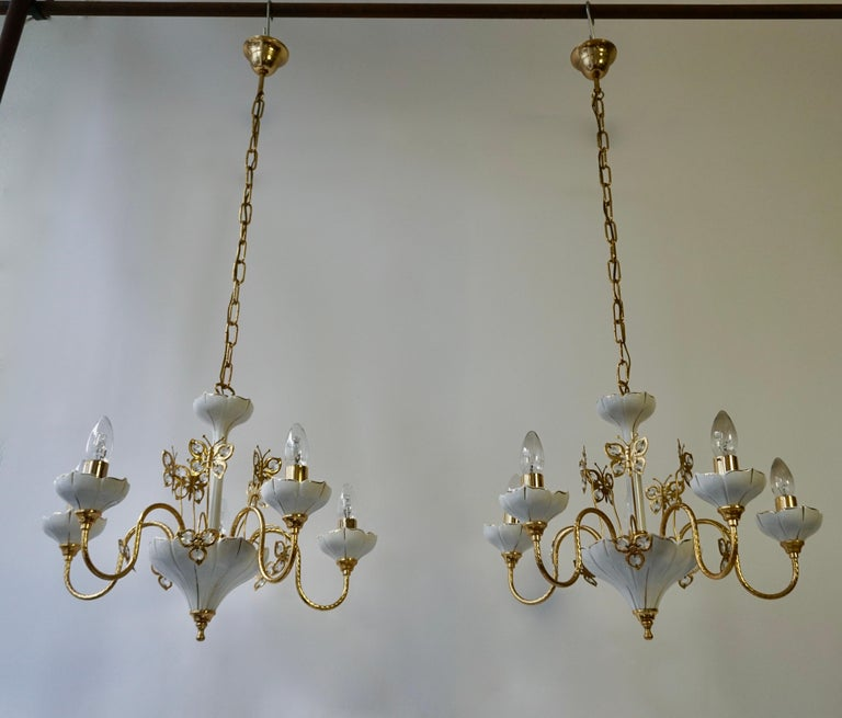 Hollywood Regency Set of Two Porcelain and Brass Butterfly Chandeliers For Sale