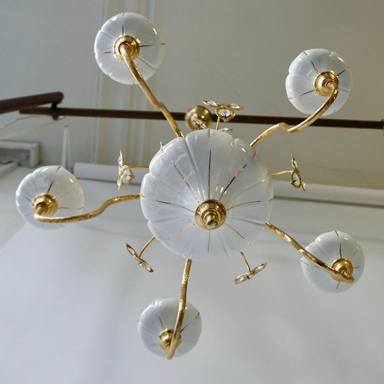 Italian Set of Two Porcelain and Brass Butterfly Chandeliers For Sale