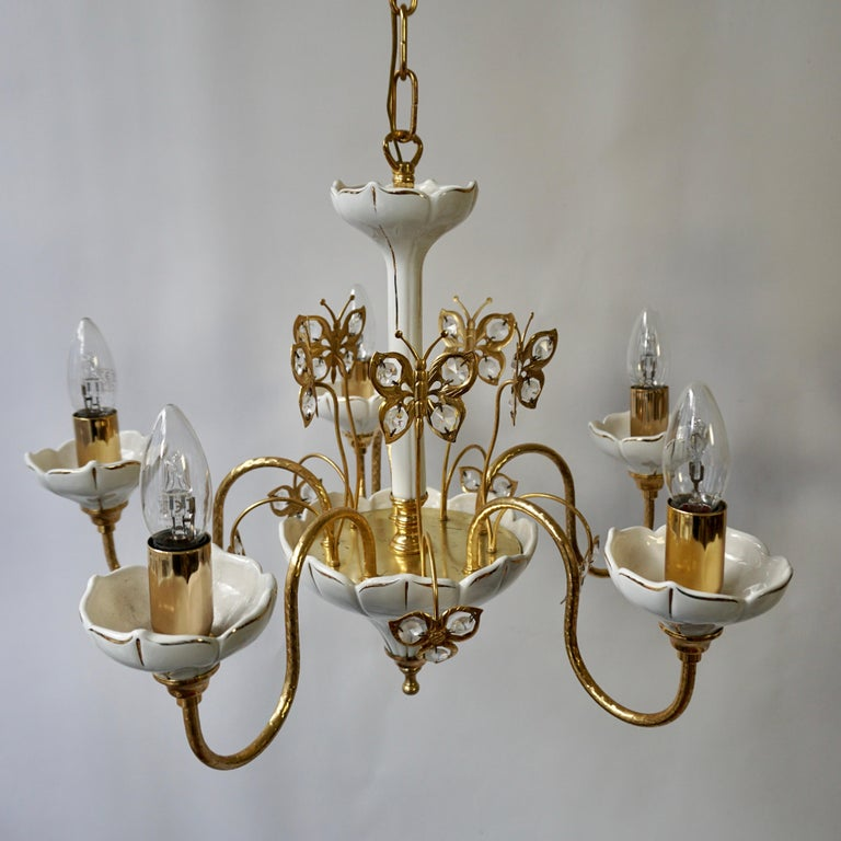 20th Century Set of Two Porcelain and Brass Butterfly Chandeliers For Sale