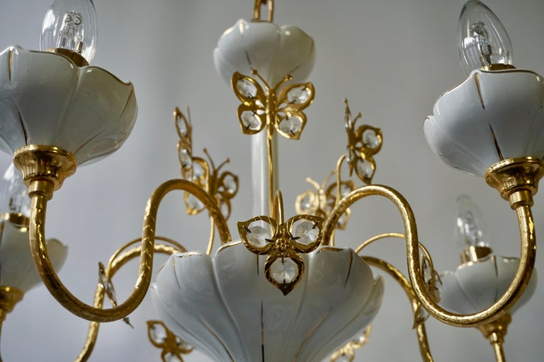 Set of Two Porcelain and Brass Butterfly Chandeliers For Sale 1