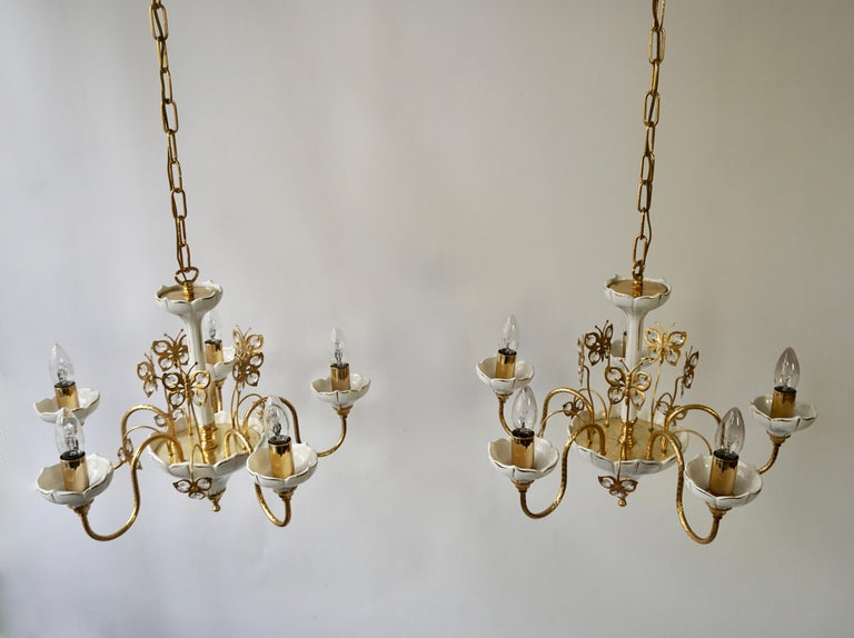 Set of Two Porcelain and Brass Butterfly Chandeliers For Sale 2