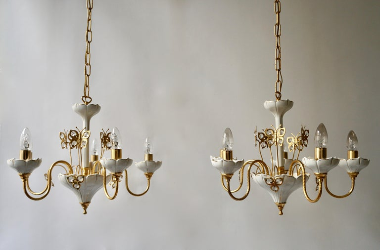 Set of Two Porcelain and Brass Butterfly Chandeliers For Sale 3