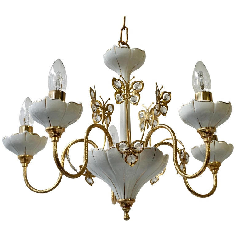 Set of Two Porcelain and Brass Butterfly Chandeliers For Sale