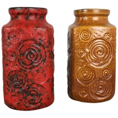 "Set of Two Pottery Fat Lava Vases Jura ""282-20"" Made by Scheurich, Germany 1970s"