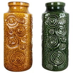 """Set of Two Pottery Fat Lava Vases Jura """"282-26"""" Made by Scheurich, Germany 1970s"""