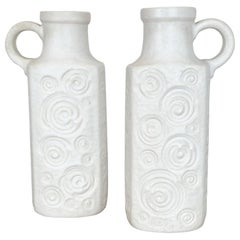 """Set of Two Pottery Fat Lava Vases Jura """"482-28"""" Made by Scheurich, Germany 1970s"""