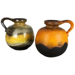 """Set of Two Pottery Fat Lava Vases model """"484-21"""" Made by Scheurich Germany 1970s"""