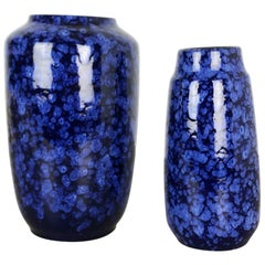 """Set of Two Pottery Fat Lava Vases Model """"BLUE"""" Made by Scheurich, Germany, 1970s"""