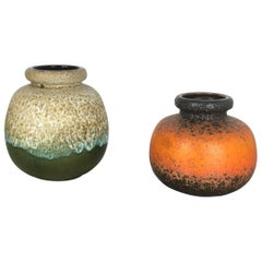 "Set of Two Pottery Fat Lava Vases ""Multi-Color"" by Scheurich, Germany, 1970s"