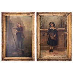 Set of Two Prints of a Boy and a Girl in Their Original Frames Early 1900s