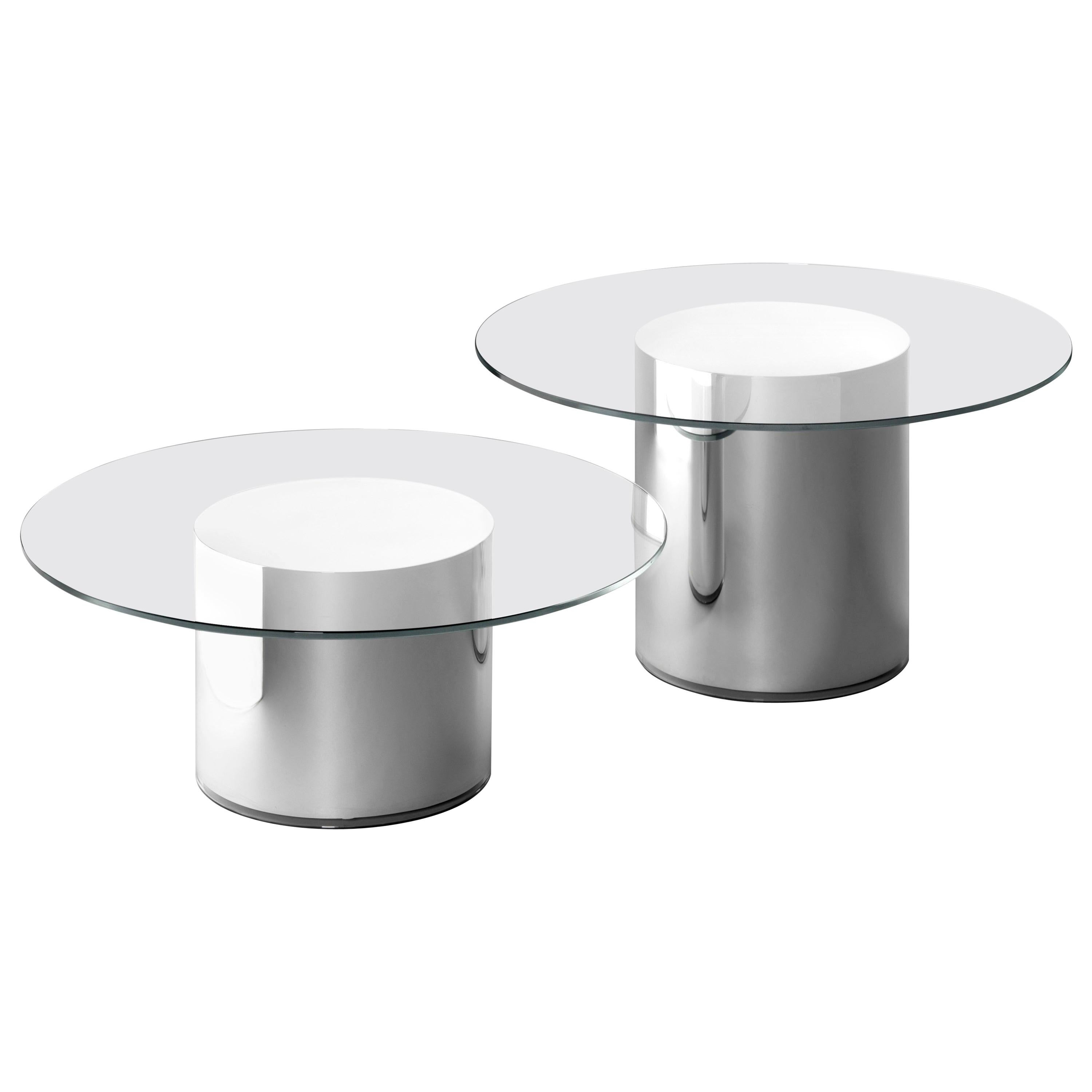 Set of Two Ramon Úbeda and Otto Canalda Contemporary Glass 2001 Side Tables