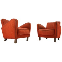 Set of Two Rare Art Deco Armchairs H-283 by Jindřich Halabala, 1930s