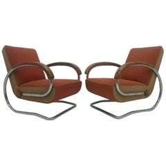 Set of Two Rare Design Armchairs Model H221, Designed by Jindřich Halabala