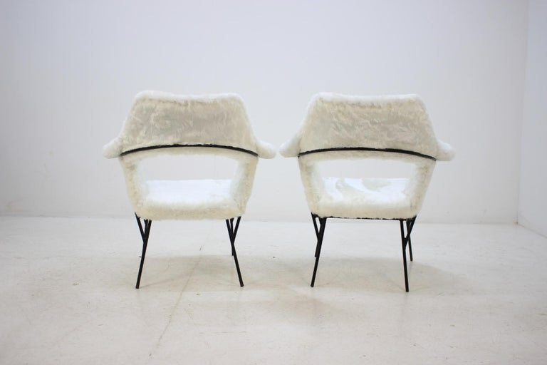Mid-20th Century Set of Two Rare Midcentury Lounge Chairs, Czechoslovakia For Sale
