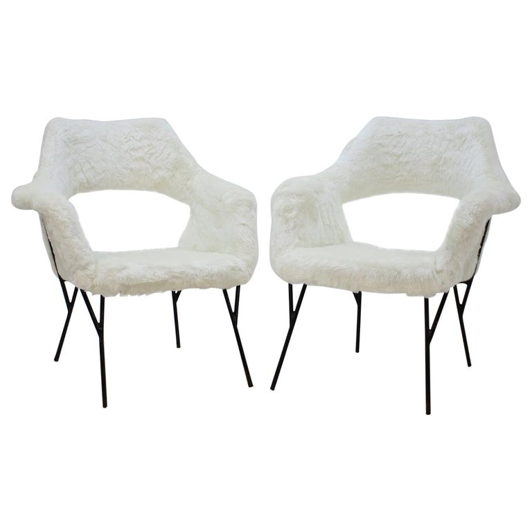 Set of Two Rare Midcentury Lounge Chairs, Czechoslovakia For Sale