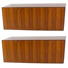 Set of Two Rare Palisander Hanging Sideboard by Florence Knoll, 1950s