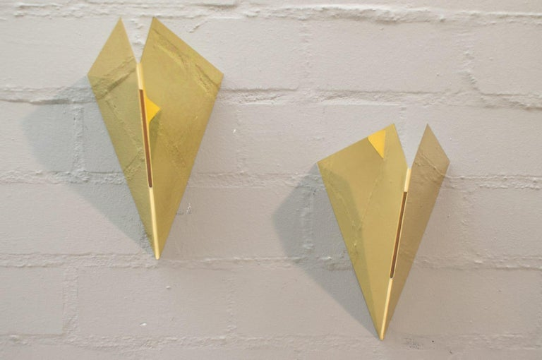 Italian Set of Two Rare Vintage Gilded Metal Wall Lamps by Egoluce, Italy, 1960s For Sale