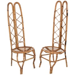 Set of Two, Rattan and Bamboo Chairs on the French Riviera, France of the 1960s