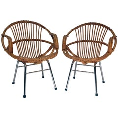 Set of Two Rattan Armchairs