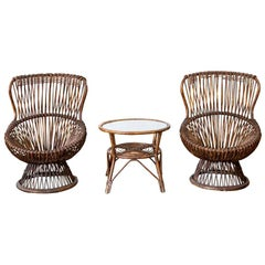Set of Two Rattan Chairs, 1950s