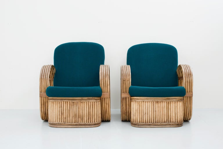 Bohemian Set of Two Rattan Chairs in Newly Reupholstered Green Wool, Italy, 1950s For Sale