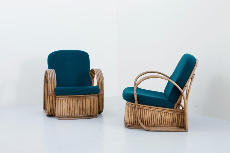 Set of Two Rattan Chairs in Newly Reupholstered Green Wool, Italy, 1950s In Good Condition For Sale In Amsterdam, NL