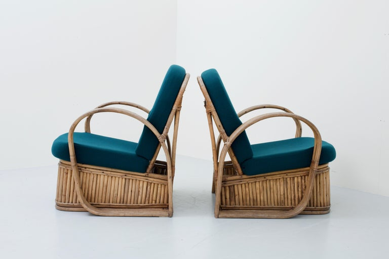 Set of Two Rattan Chairs in Newly Reupholstered Green Wool, Italy, 1950s For Sale 1