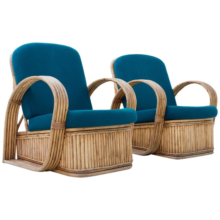 Set of Two Rattan Chairs in Newly Reupholstered Green Wool, Italy, 1950s For Sale