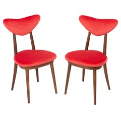 Set of Two Red Heart Chairs, Poland, 1960s