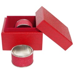 Set of Two Red Shagreen Napkin Rings by Fabio Ltd