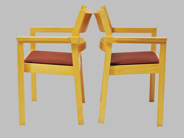 Set of two refinished Hans J. Wegner armchairs in beech.  The armchairs named