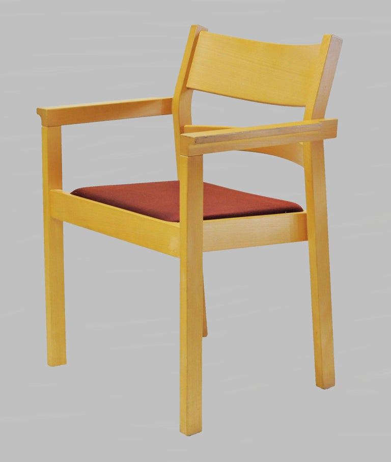 Danish Set of Two Refinished Hans J. Wegner Armchairs in Beech, Choice of Upholstery For Sale