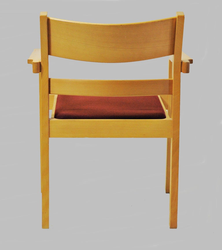 Set of Two Refinished Hans J. Wegner Armchairs in Beech, Choice of Upholstery For Sale 1