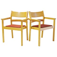 Set of Two Refinished Hans J. Wegner Armchairs in Beech, Choice of Upholstery