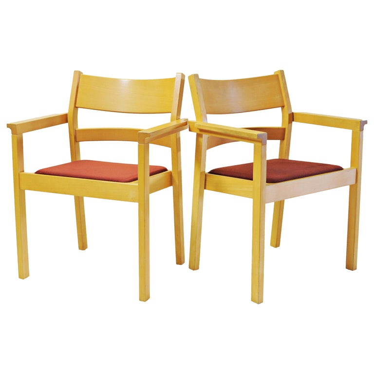 Set of Two Refinished Hans J. Wegner Armchairs in Beech, Choice of Upholstery For Sale