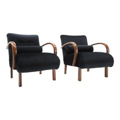 Set of Two Retro Armchairs Designed by Jindřich Halabala, Czechoslovakia 1940s